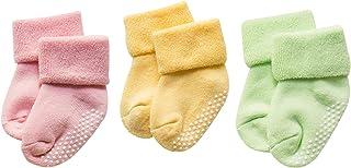 DEBAIJIA 3 Pares De Bebé Calcetines de Algodón Antideslizante Grueso Recién Nacidos 0-36 Meses para Niños Niñas 3 Colores