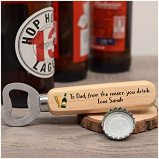 PERSONALISED Novelty Wooden Bottle Opener Gifts for Dad, Daddy, Grandad - Custom Fathers Day Gift Ideas - Funny Bottle Opener Gifts from Son Daughter - ANY NAMES