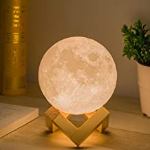 Mydethun Moon Lamp Moon Light Night Light for Kids Gift for Women USB Charging and Touch Control Brightness 3d Printed War...