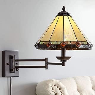 Tiffany Style Glass Panel Plug-in Swing Arm Wall Lamp - Robert Louis Tiffany