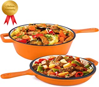 Enameled 2-In-1 Cast Iron Multi-Cooker – Heavy Duty 3.2 Quart Skillet and Lid Set, Versatile Healthy Design, Non-Stick Kitchen Cookware, Use As Dutch Oven Frying Pan (Orange)