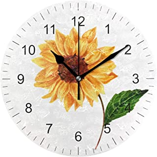 Wamika Wall Clock Oil Sunflower Daisy Flowers White Vintage Round Clock Silent Non Ticking Decorative, Seasonal Floral Clocks 10 Inch Battery Operated Quartz Analog Quiet Desk Clock for Home Office