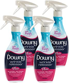 Downy Wrinkle Release Spray Plus, Static Remover, Odor Eliminator, Steamer for Clothes Accessory, Fabric Refresher and Ironing Aid, Light Fresh Scent, 16.9 Fluid Ounce (Pack of 4)