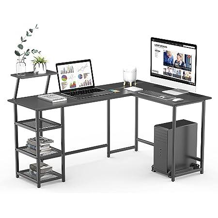 Bureau d'Angle avec Support d'écran, Table en Forme de L avec étagère de Rangement, Cadre métallique, pour Bureau à Domicile, Style Industriel, Noir