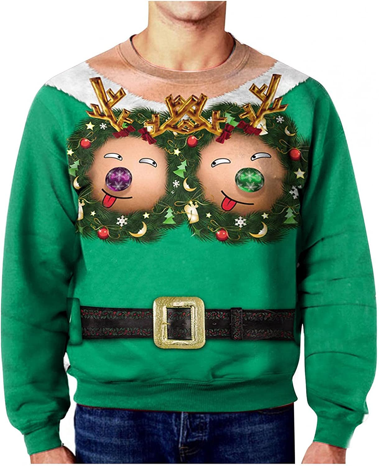 XUNFUN Ugly Christmas Sweatshirts for Men Funny Design 3D Digital Printed Pullover Sweaters Long Sleeve Novelty T-shirts