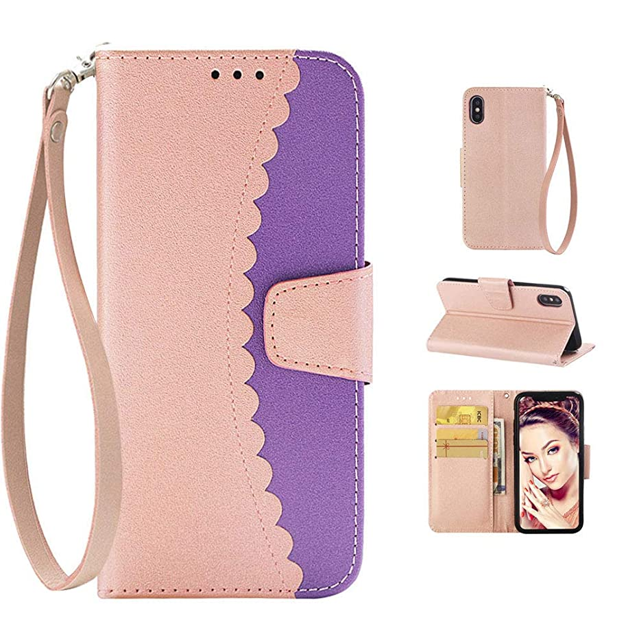 """iPhone Xs Max Case for Women, iPhone Xs Max Case with Card Holder Strap Stand, Cute iPhone Xs Max Case Wallet Leather Soft TPU iPhone Xs Max Case Shockproof Case for Apple iPhone Xs Max 6.5""""-Purple"""