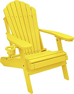 ECCB Outdoor Outer Banks Deluxe Oversized Poly Lumber Folding Adirondack Chair (Yellow)