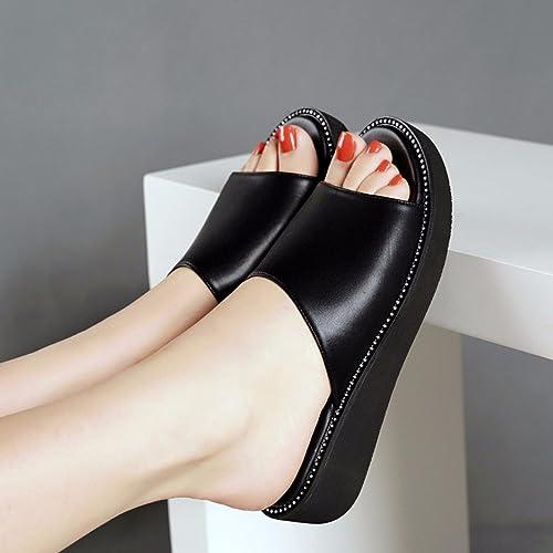 GTVERNH Chaussures pour femmes Le Forage En Eau épaisse Wild à Fond Plat Pente Talon Des Sandales Des Pantoufles Summer.