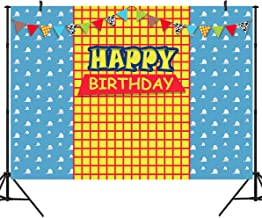 Duluda 7x5FT Blue Sky Yellow Lattice Photography Backdrop for Kids Cartoon Story Happy Birthday Party Banner Western Cowboy Flags Background Photo Booth Prop BD36