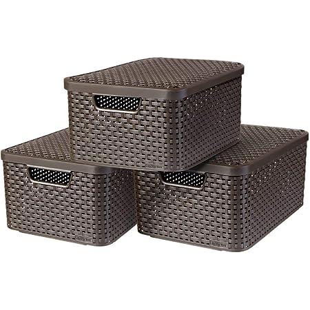 CURVER |Lot 3 bacs de rangement STYLE M + couvercles, Marron foncé, Plastique