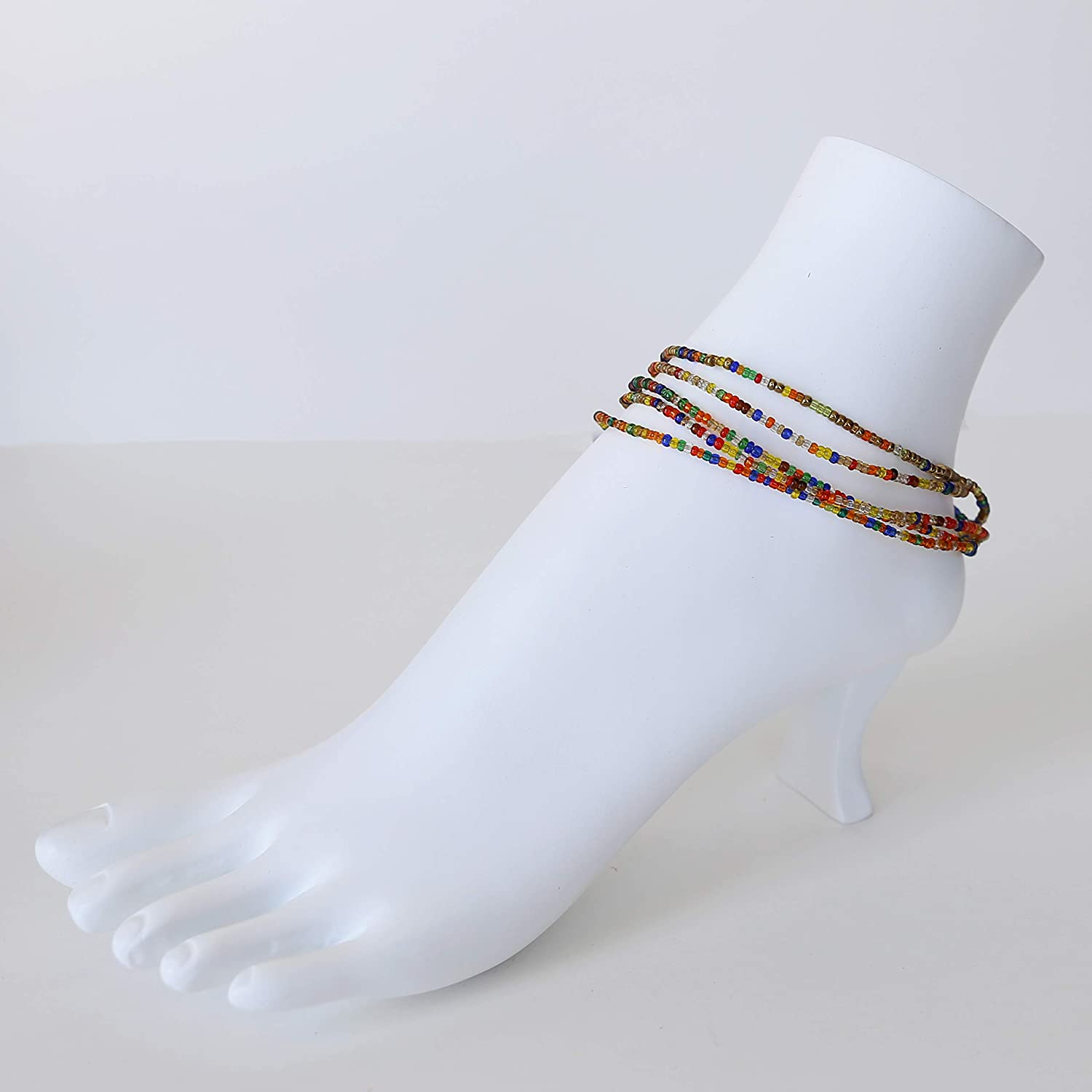 Gitzell Fair Trade Anklets, Hand Made African Beaded Anklets, Colorful, Easily Adjustable Set of 12