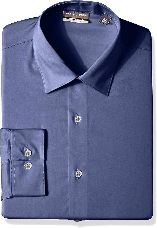 Van Heusen Men's Always Tucked Stretch Solid Regular Fit Dress Shirt