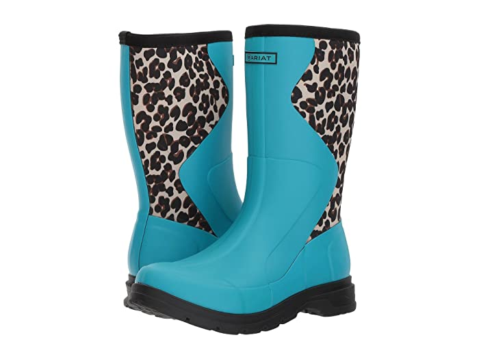 Ariat  Springfield Rubber Boot (Bright Aqua/Leopard Print) Womens Waterproof Boots
