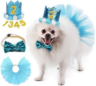 Legendog Dog Birthday Party Supplies, Dog Birthday Hat with Letters - Dog Tutu Skirt - Dog Bowtie, Cute Dog Birthday Girl Dress, Dog Birthday Outfit for Small Dogs