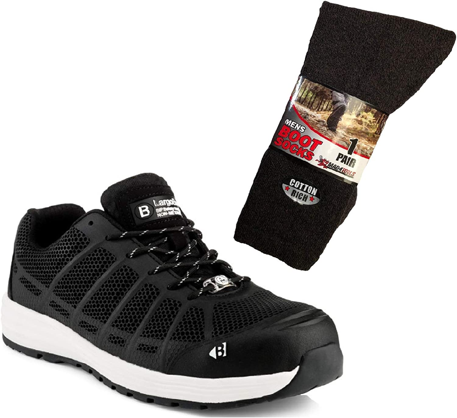 35670dab Buckler KEZ Safety Hardwearing Trade Work Trainer shoes Black Toe-Cap  Predection (Sizes 6
