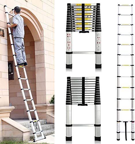 lowest Telescoping Ladder Aluminum Telescopic Extension Folding Loft or Attic Multi-Purpose popular wholesale Ladder Heavy Duty 330lb Load Capacity, 12.5 Feet outlet online sale