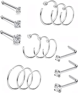 Thunaraz 15 Pcs 20G Stainless Steel Nose Ring CZ L-Shaped Hoop Piercing for Men Women