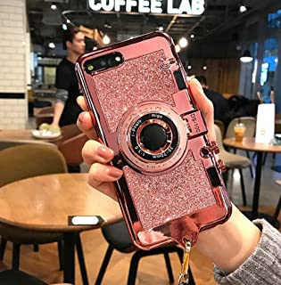 UCLL iphone 7 plus case iphone 8 plus New Modern 3D Vintage Style Bling Camera Design Soft Cover For 5.5 iphone 7plus/iphone 8 Plus with Strap Rope and a Screen protector (pink)