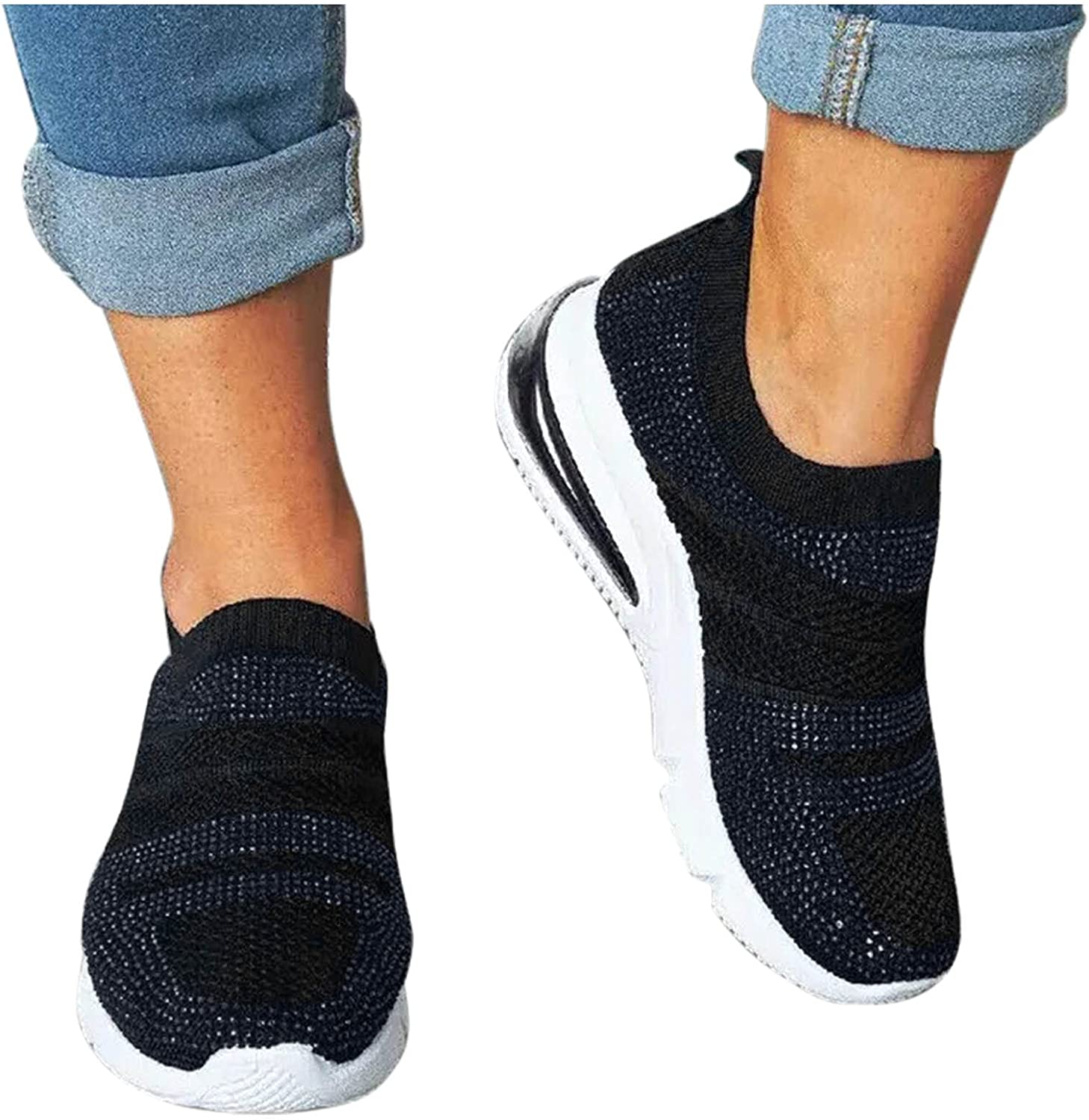Fashion Sneakers for Women,Women's Terrific Slip-on Walking Shoes Casual Flat Shoes Canvas Loafers Running Tennis Shoes