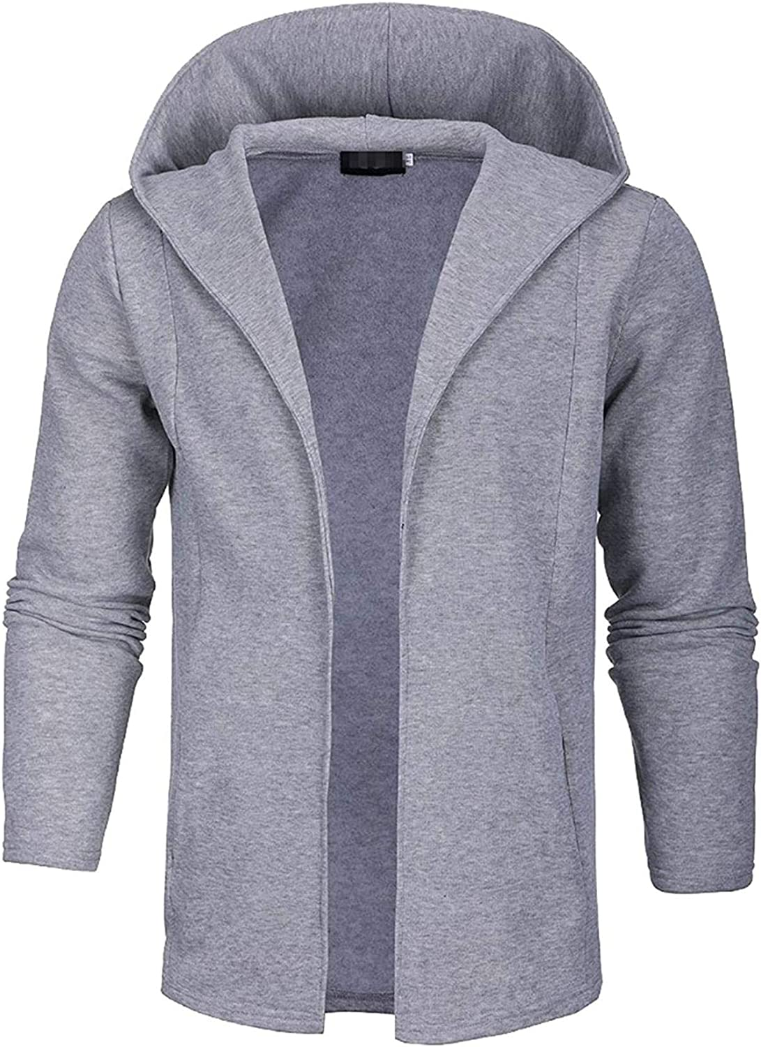 Men's Cardigans Male Casual Long Hooded Knitted Outerwear Slim Solid Color Cardigan Sweaters