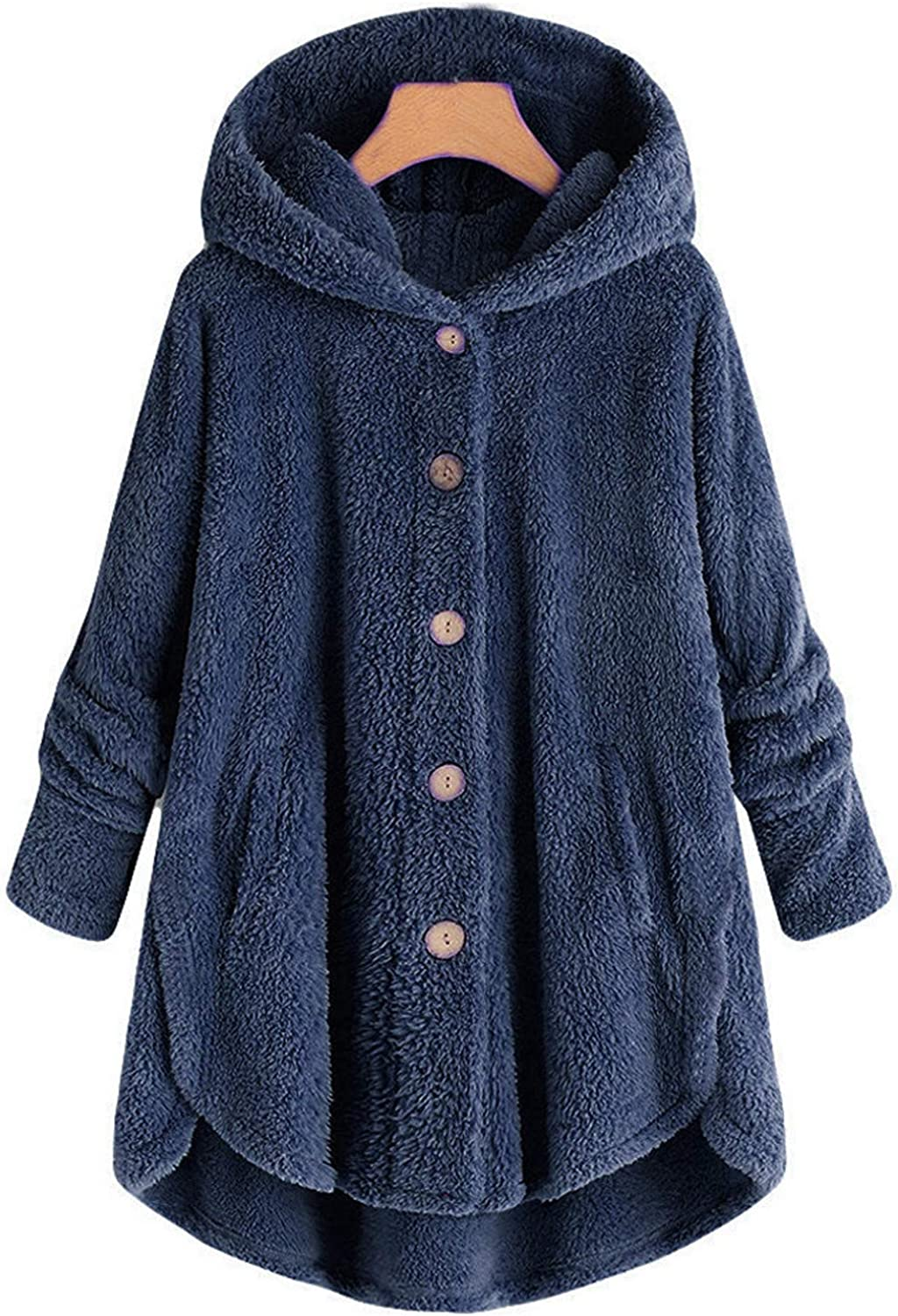 Womens Oversized Cardigan Hoodies Casual Warm Plush Coat Solid Color Long Sleeve Ladies Fashion Winter Loose Jacket Top