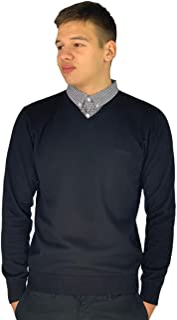 Pierre Cardin Mens New Season V-Neck Knitted Jumper with Mock Shirt Collar Insert