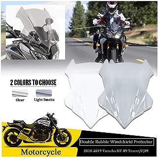FATExpress Motorcycle Large Tall Windshield Windscreen Wind Shield Deflector Fly Screen for 2018 2019 Yamaha MT-09 MT 09 MT09 Tracer FJ 09 FJ-09 FJ09 Motorbike Accessories (Clear)