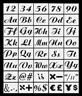 Set of 40 PCs Letter Stencils for Painting on Wood - Alphabet Stencils with Calligraphy Font Upper and Lowercase Letters - Reusable Plastic Art Craft Stencils with Numbers and Signs - 8.26