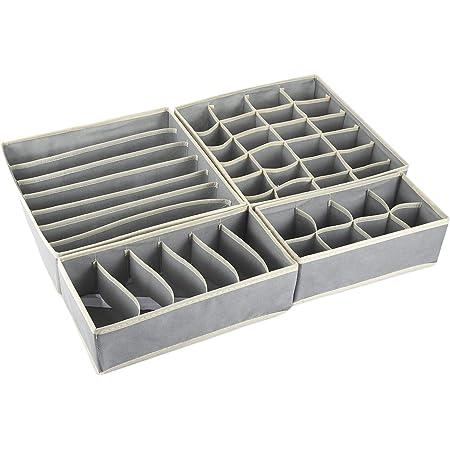 Aufbewahrungsboxen f/ür Unterw/äsche,Schubladen-Organizer,Ordnungssystem f/ür Kleiderschrank faltbar f/ür BHs Unterw/äsche Socken Krawatten,Faltbox