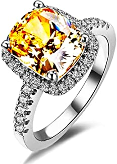 Wisslotus Yellow Topaz Rings for Women Citrine Gemstone Birthstone Cushion Cut Cubic Zirconia Wedding Engagement Bridal Ri...