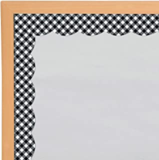 Fun Express Black and White Gingham Bulletin Board Border (13 Pieces) Educational Classroom Decorations