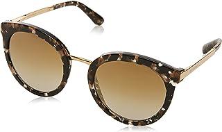 Dolce & Gabbana 0DG4268 911/6E 52 Occhiali da Sole, Nero (Cube Black/Gold/Gradlightbrownmirrorgold), Donna
