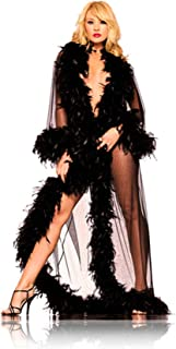 Sheer Feather Trimmed Glamour Robe