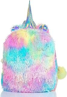 Dubkart Fluffy Unicorn Backpack, Dubkart Cute Plush Unicorn Backpack, Fluffy Mini Unicorn Backpack Bags for Girls Kids Tra...