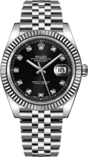 DATEJUST 41 STEEL AND WHITE GOLD BLACK DIAMOND DIAL JUBILEE BRACELET 41MM
