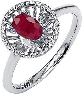 1.08 克拉 椭圆形 红色 红宝石 搭配 白色 锆石 925银