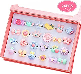 PinkSheep Little Girl Jewel Rings in Box, Adjustable, No Duplication, Girl Pretend Play and Dress Up Rings 20190630