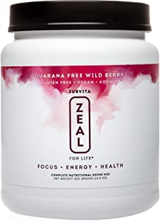 Zurvita Zeal for Life 30-Day Wellness Canister, 420 Grams, Wild Berry (Guarana Free)