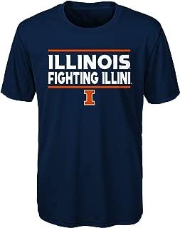 NCAA Illinois Illini Youth Boys Short Sleeve Performance Tee, Youth Boys Medium(10-12), Dark Navy