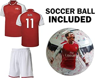 Ozil Jersey Youth #11 Kids Soccer Jersey + Shorts + Ball Premium Gift Set✓ Mesut Ozil #11 Soccer Ball Size 5 Football Jersey kit Futbal Great Gift for Boys