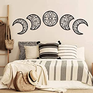 Moon Phase Wall Hanging,Wooden Moon Art Decoration Wall Hanging (5 Pieces) Bedroom Wall Decor Above Bed Boho Style for Bedroom,Home,Apartment, Bar,Living Room Wall Decor (Black)