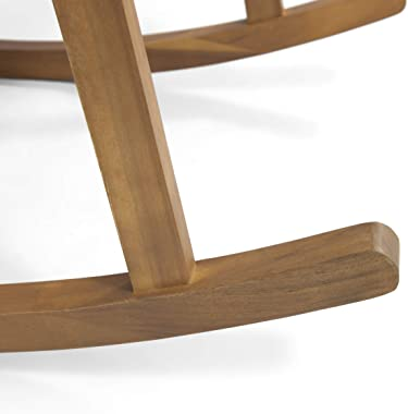 Great Deal Furniture Beulah Outdoor Acacia Wood Rocking Chair, Brown and Cream