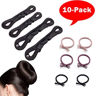 Magic Bun Maker,Updo Hair Tools,Uiizic 10 Picecs,Bun Shaper for Kids, Donut Hair Bun MakerRing Style Bun Maker Set with Hair BunBallet Hair Bun