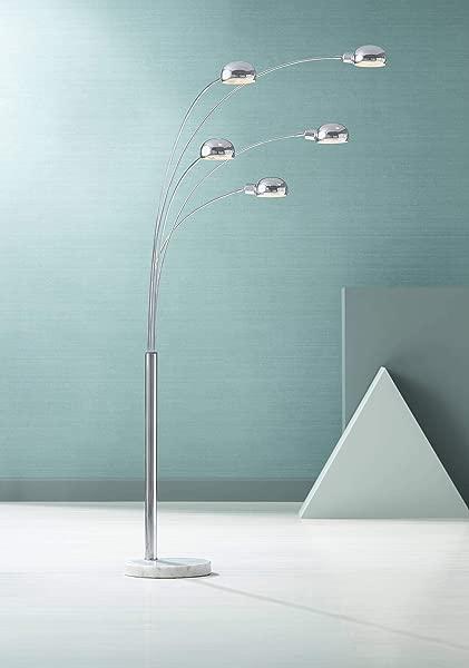 Infini Mid Century Modern Arc Floor Lamp 5 Light Chrome Marble Base Swivel Dome Shades For Living Room Reading Possini Euro Design