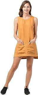 UKHI Albacore Tuna Hemp Round Neck Women's Dress (Color Mustard)