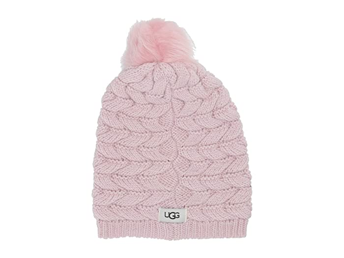 UGG  Cable Hat with Pom (Pink Crystal) Beanies