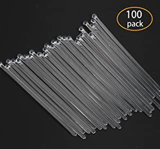 SBYURE 100 Pieces 7.4 Inch Disposible Plastic Round Top Swizzle Sticks with Crystal Ball Head (Clear)