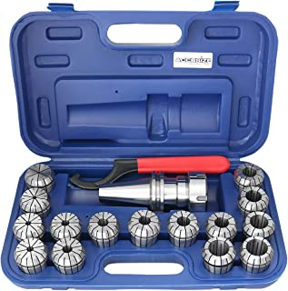 Accusize Industrial Tools Cat40 Shank and 15 Pc Er40 Collet Set with Wrench in Fitted Strong Box, 1/8 to 1 inch, Ct40-Er40