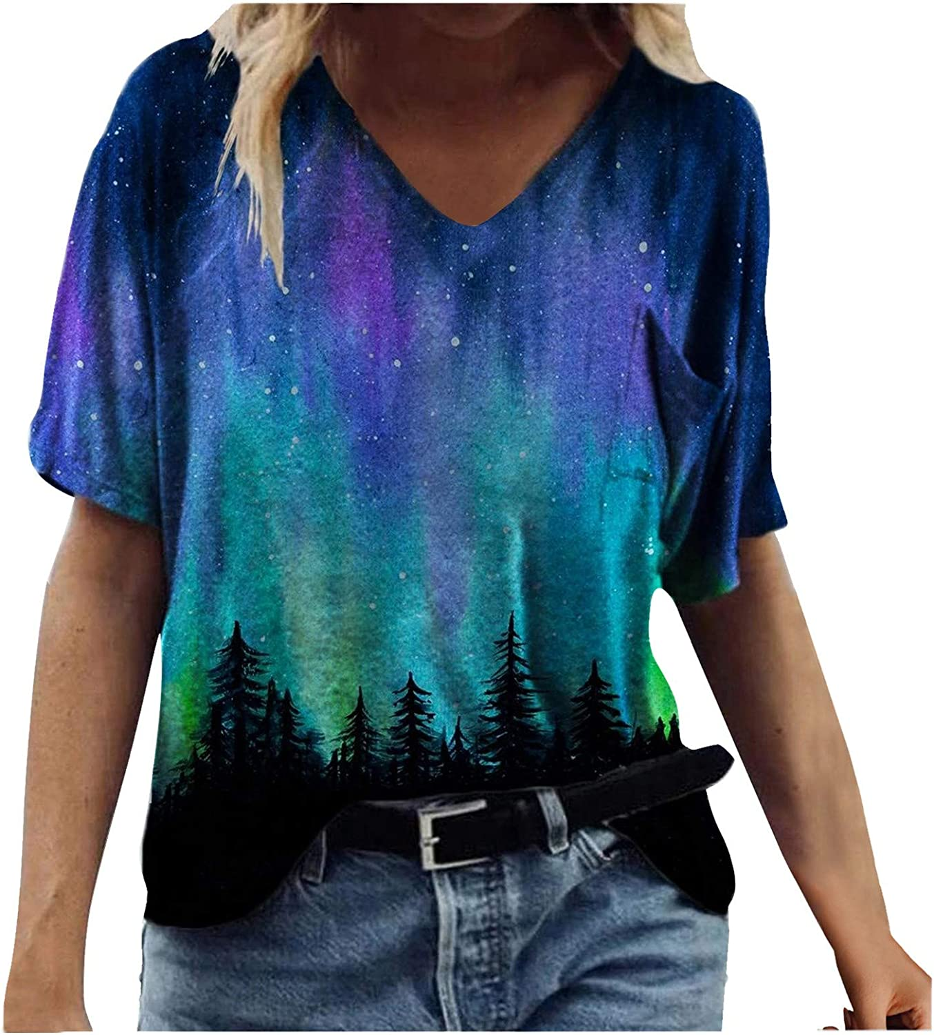 FABIURT Summer Tops for Women Short Sleeve Tunic Tops V Neck Vintage Graphic Printed Tee Shirt Casual Comfy Blouses Tops