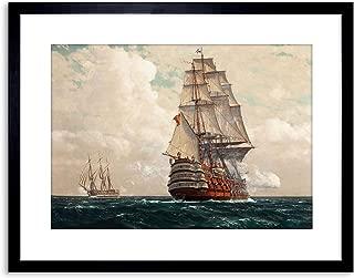 Wee Blue Coo Painting Seascape Naval DIEMER Ship at SEA Framed Art Print F97X10957
